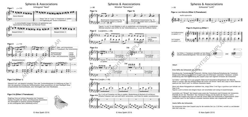 """Die Noten für das Stück """"Spheres & Associations"""" des Klangkünstlers und Komponisten Alois Späth für Zither Duo mit Transducer und Live-Elektronik"""